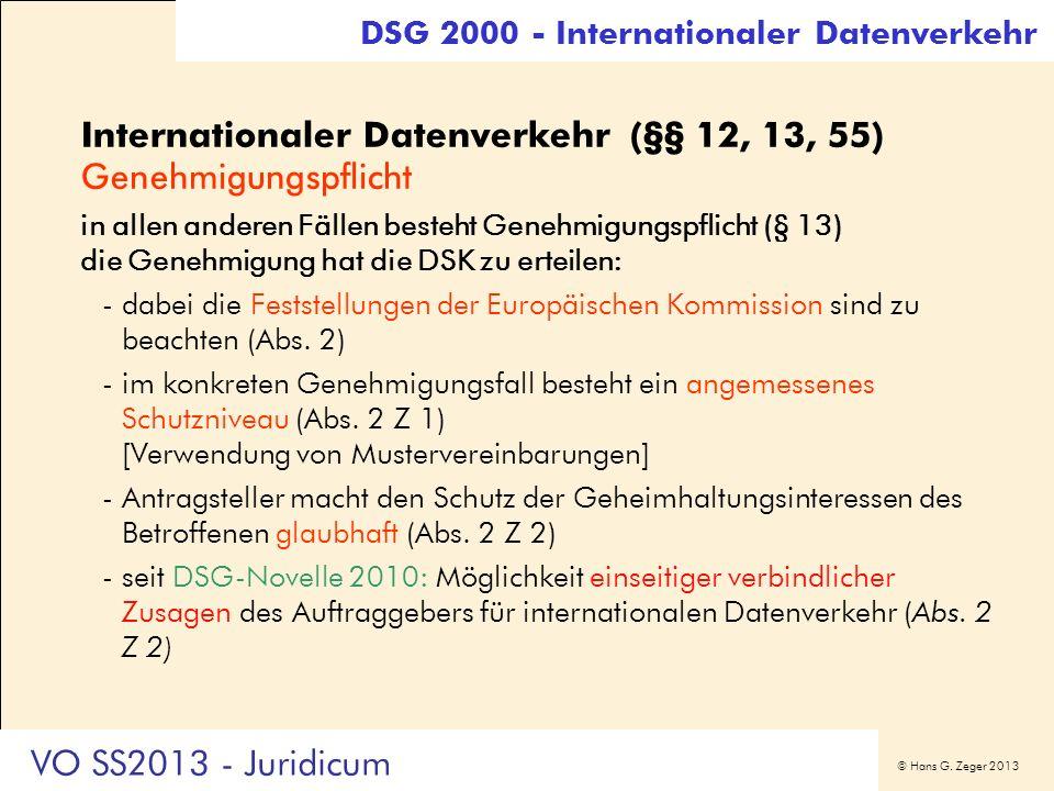 Internationaler Datenverkehr (§§ 12, 13, 55) Genehmigungspflicht
