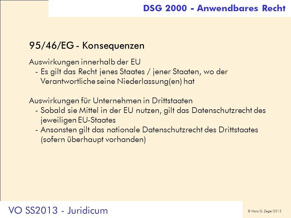 95/46/EG - Konsequenzen VO SS2013 - Juridicum