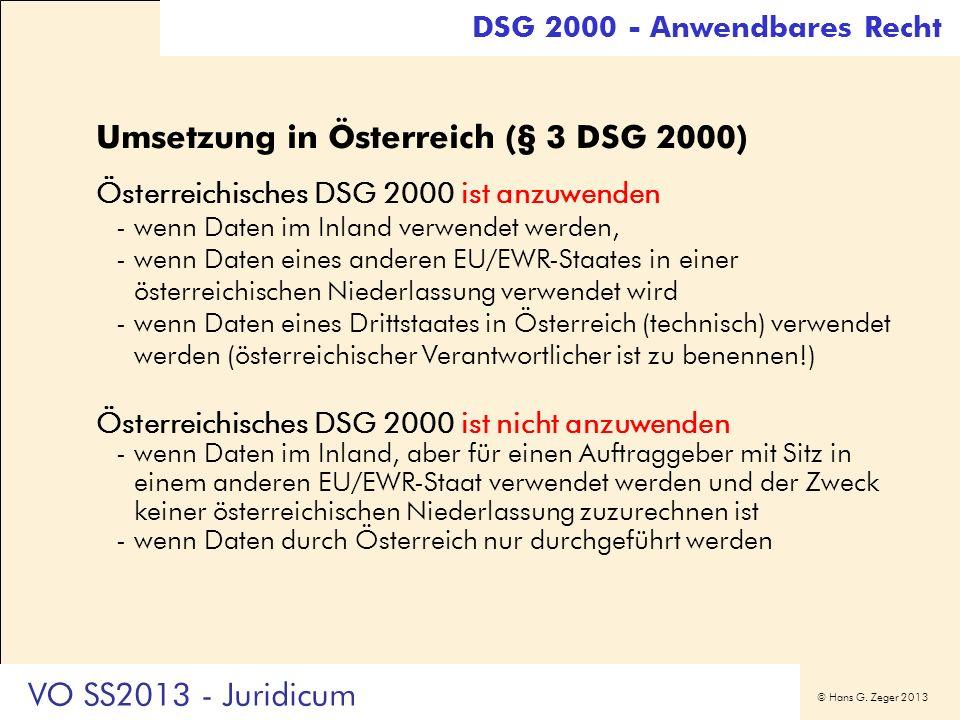 Umsetzung in Österreich (§ 3 DSG 2000)