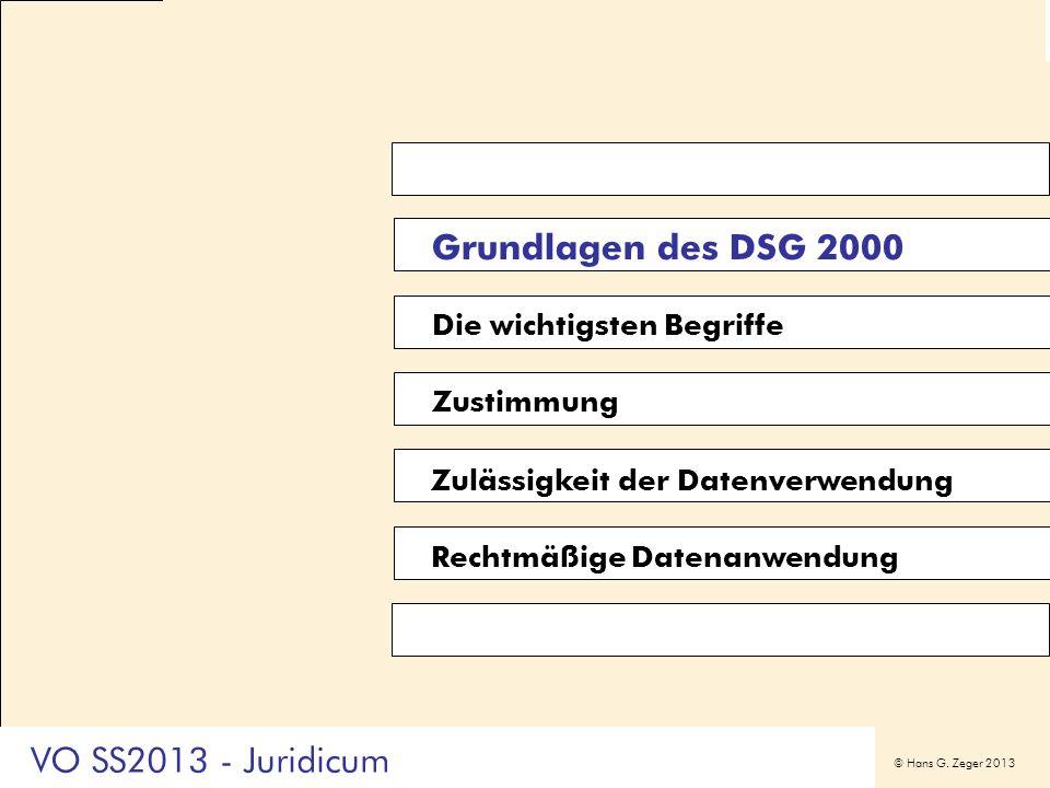 Grundlagen des DSG 2000 VO SS2013 - Juridicum Die wichtigsten Begriffe