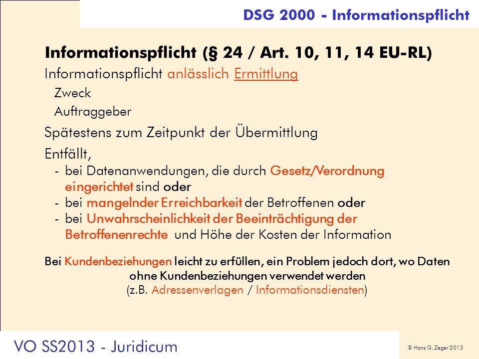 Informationspflicht (§ 24 / Art. 10, 11, 14 EU-RL)