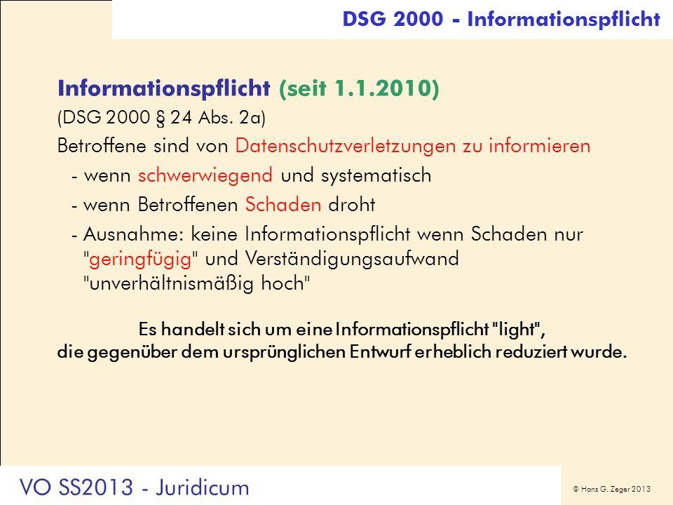 Informationspflicht (seit 1.1.2010)
