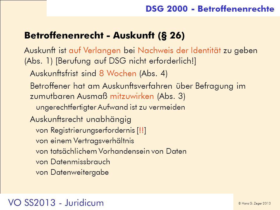 Betroffenenrecht - Auskunft (§ 26)