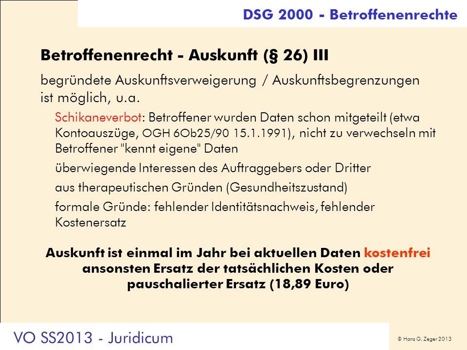 Betroffenenrecht - Auskunft (§ 26) III