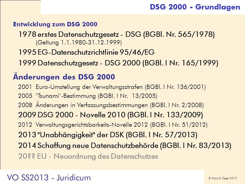 VO SS2013 - Juridicum DSG 2000 - Grundlagen