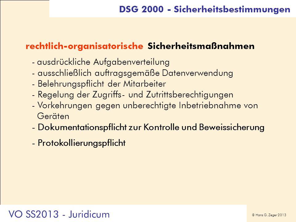 VO SS2013 - Juridicum DSG 2000 - Sicherheitsbestimmungen