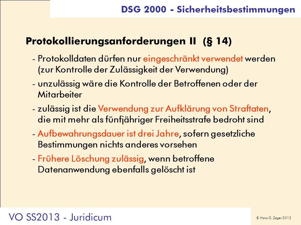 Protokollierungsanforderungen II (§ 14)