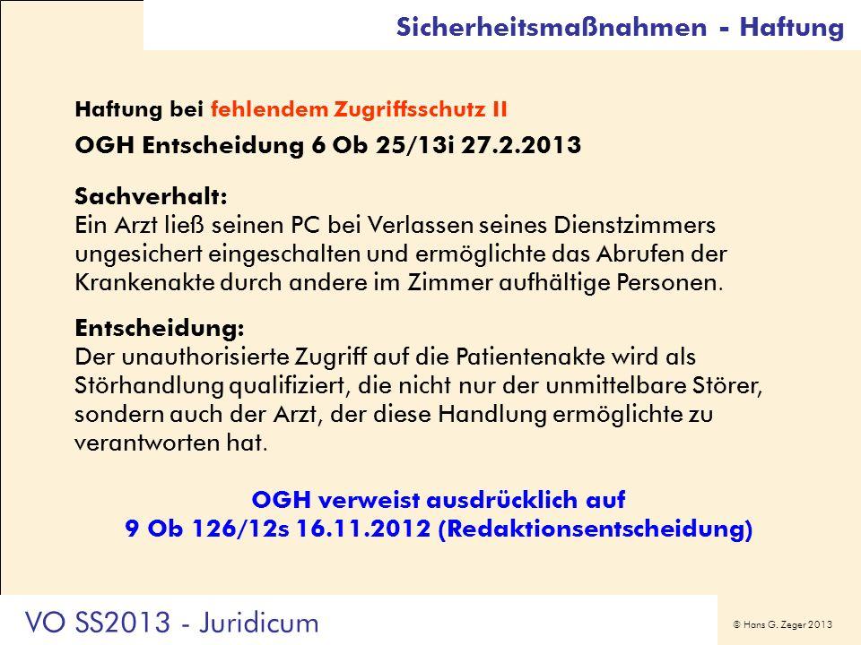 VO SS2013 - Juridicum Sicherheitsmaßnahmen - Haftung