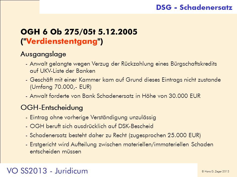 OGH 6 Ob 275/05t 5.12.2005 ( Verdienstentgang )