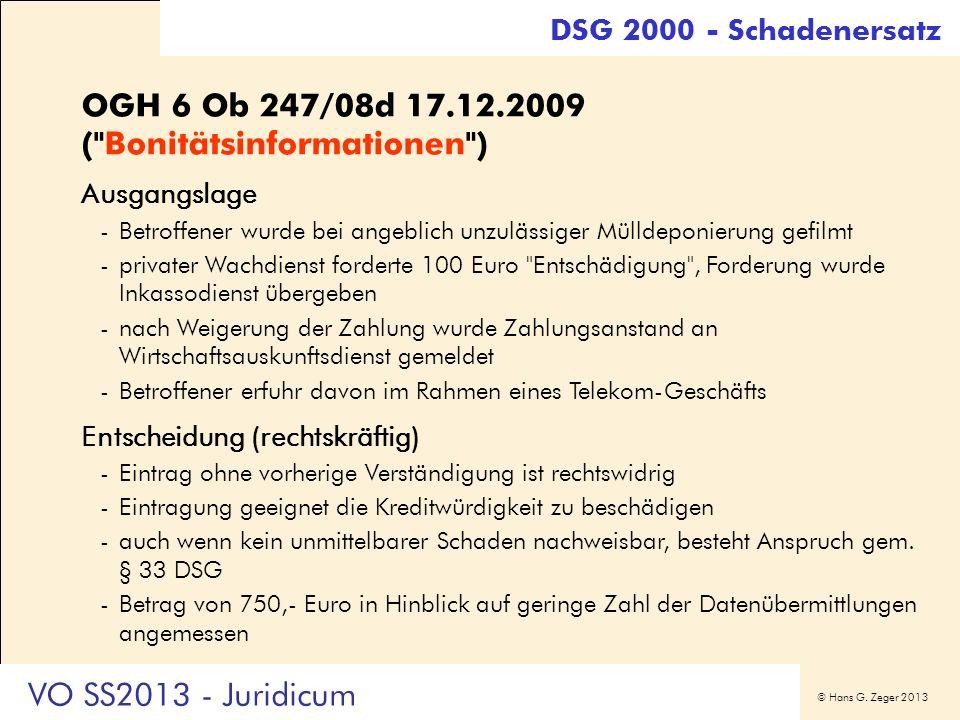 OGH 6 Ob 247/08d 17.12.2009 ( Bonitätsinformationen )