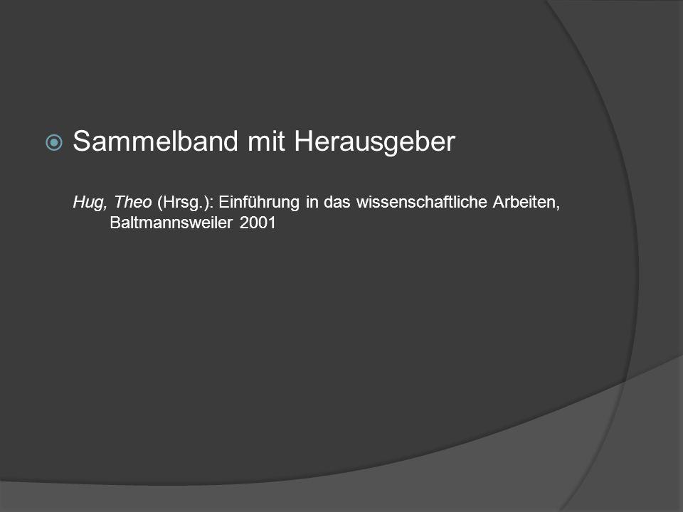 Sammelband mit Herausgeber Hug, Theo (Hrsg