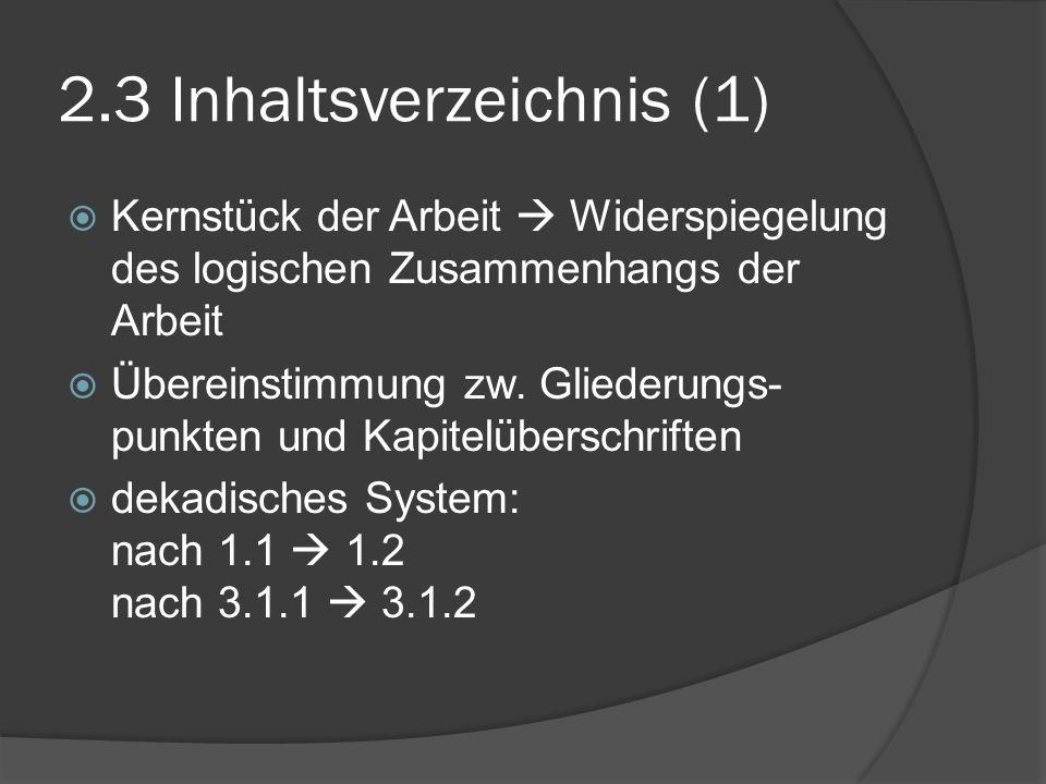 2.3 Inhaltsverzeichnis (1)