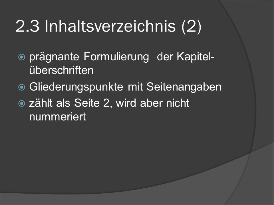 2.3 Inhaltsverzeichnis (2)