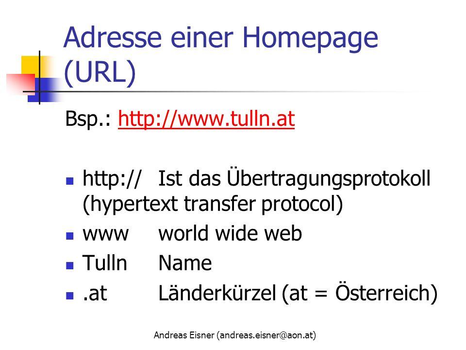 Adresse einer Homepage (URL)