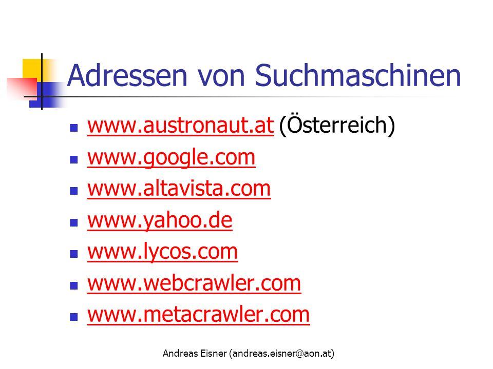 Adressen von Suchmaschinen