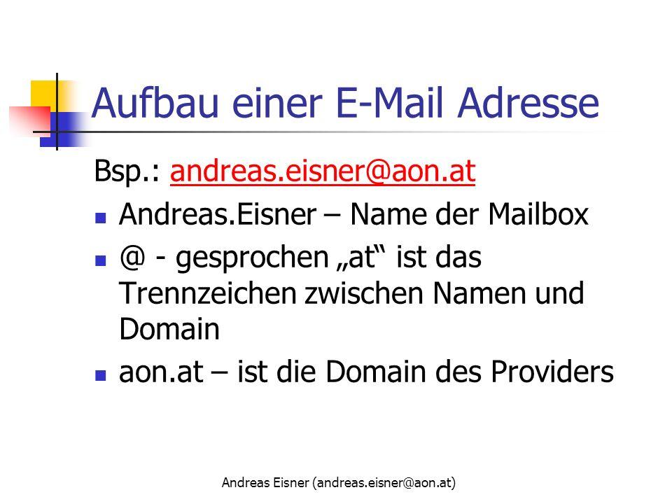 Aufbau einer E-Mail Adresse