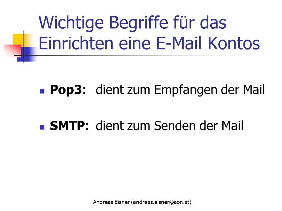 Wichtige Begriffe für das Einrichten eine E-Mail Kontos