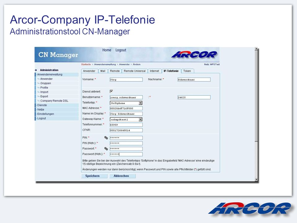 Arcor-Company IP-Telefonie Administrationstool CN-Manager