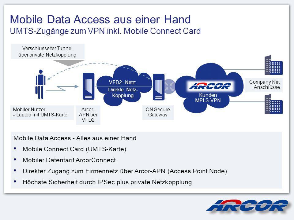 Mobile Data Access aus einer Hand UMTS-Zugänge zum VPN inkl