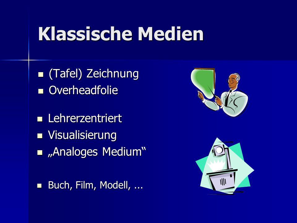 Klassische Medien (Tafel) Zeichnung Overheadfolie Lehrerzentriert