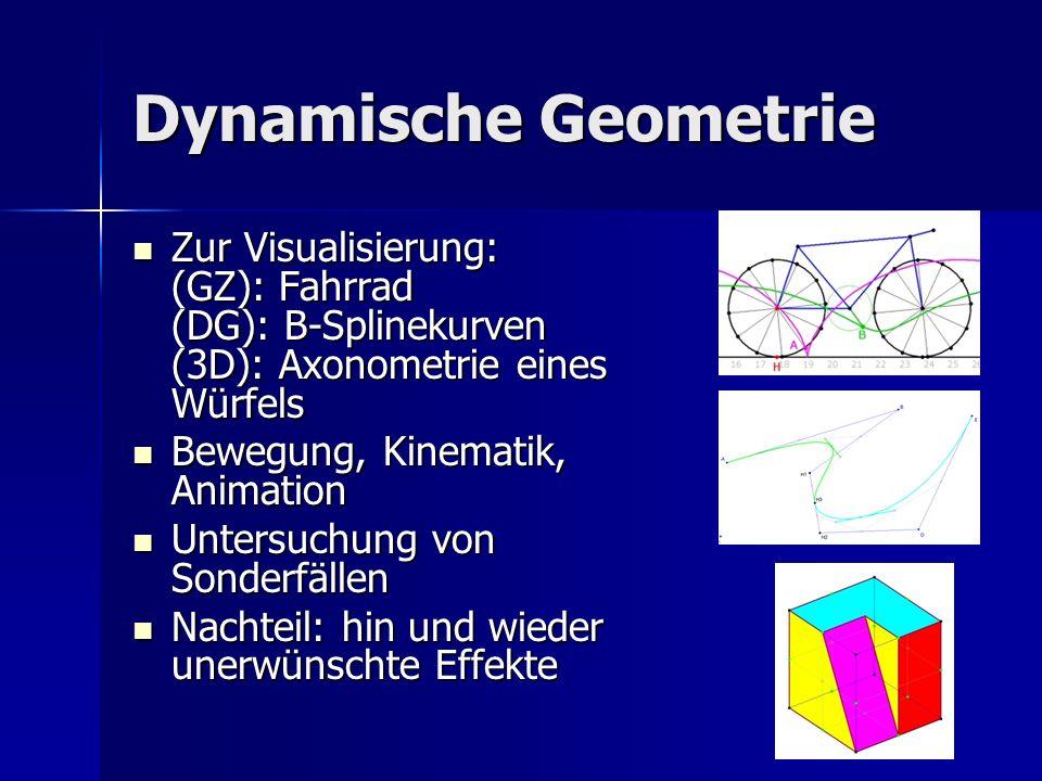 Dynamische Geometrie Zur Visualisierung: (GZ): Fahrrad (DG): B-Splinekurven (3D): Axonometrie eines Würfels.