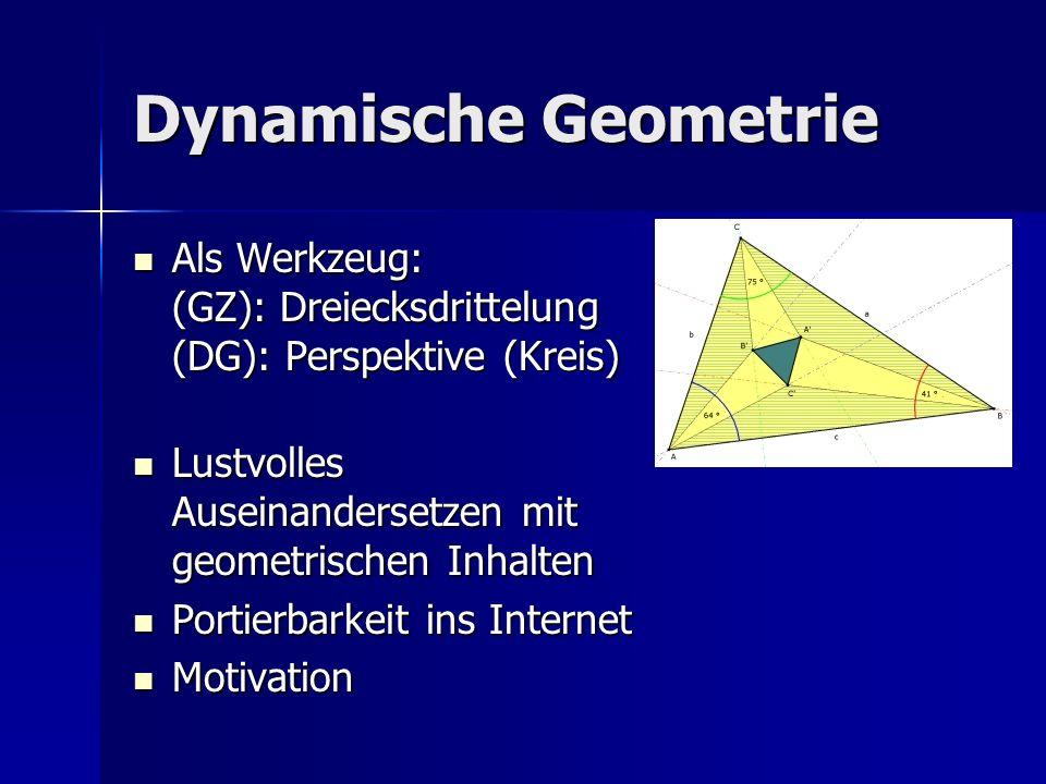 Dynamische Geometrie Als Werkzeug: (GZ): Dreiecksdrittelung (DG): Perspektive (Kreis) Lustvolles Auseinandersetzen mit geometrischen Inhalten.