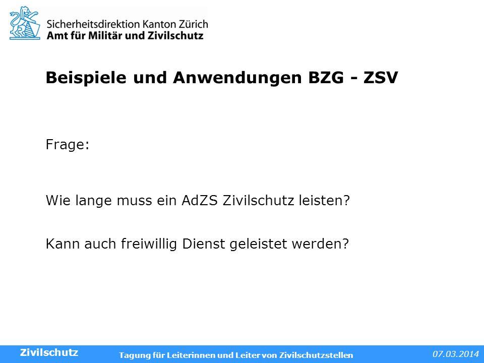 Beispiele und Anwendungen BZG - ZSV
