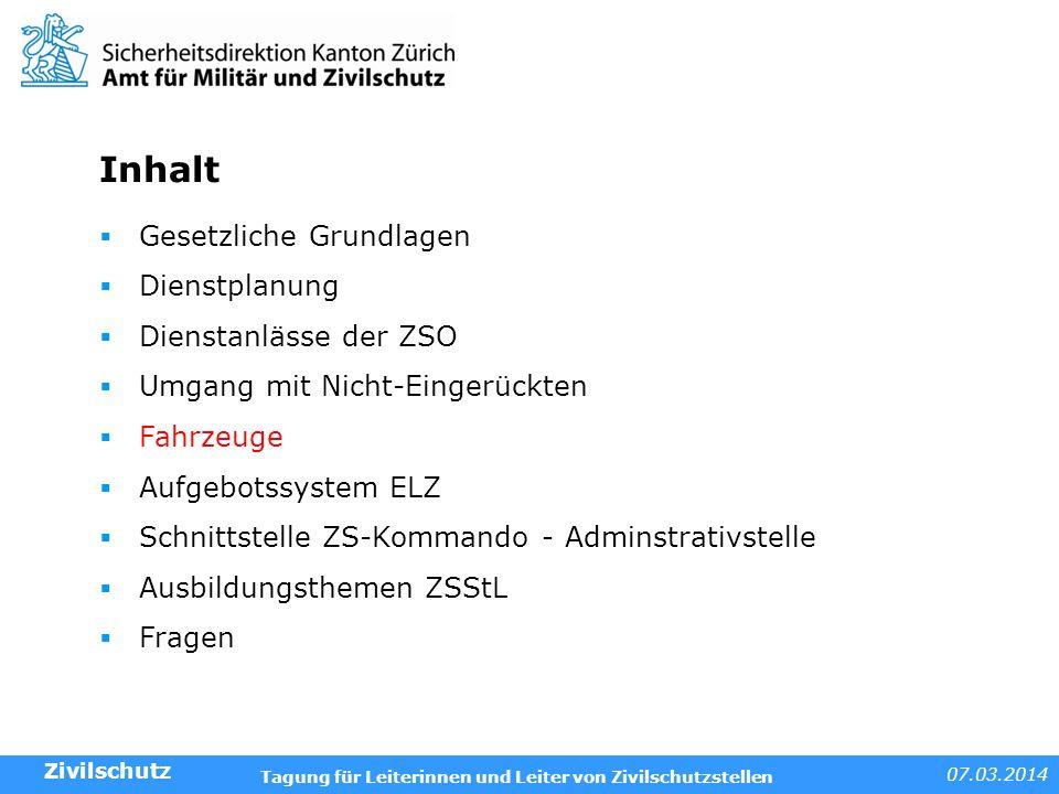 Inhalt Gesetzliche Grundlagen Dienstplanung Dienstanlässe der ZSO