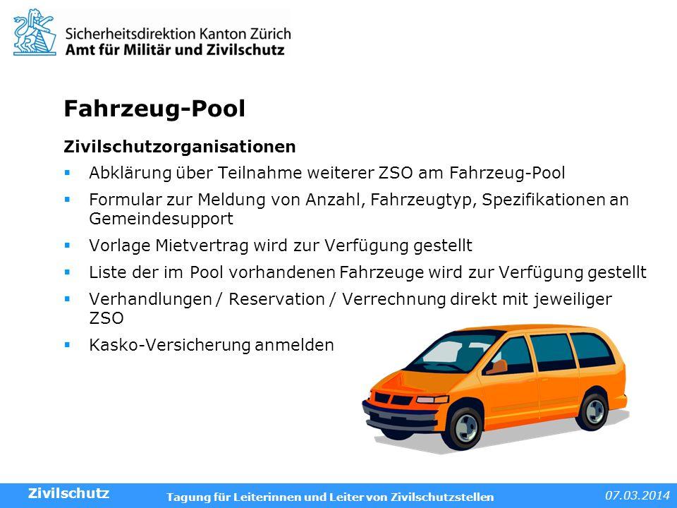 Fahrzeug-Pool Zivilschutzorganisationen
