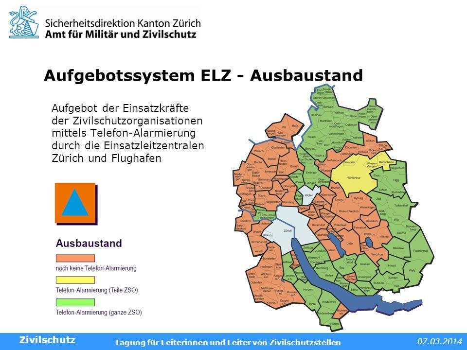Aufgebotssystem ELZ - Ausbaustand