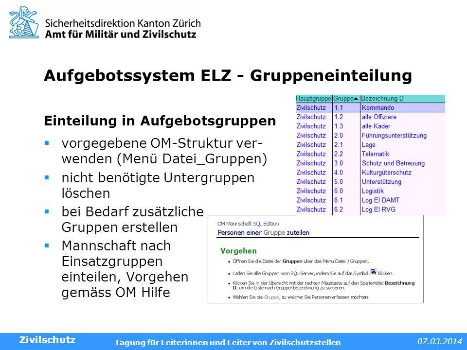Aufgebotssystem ELZ - Gruppeneinteilung