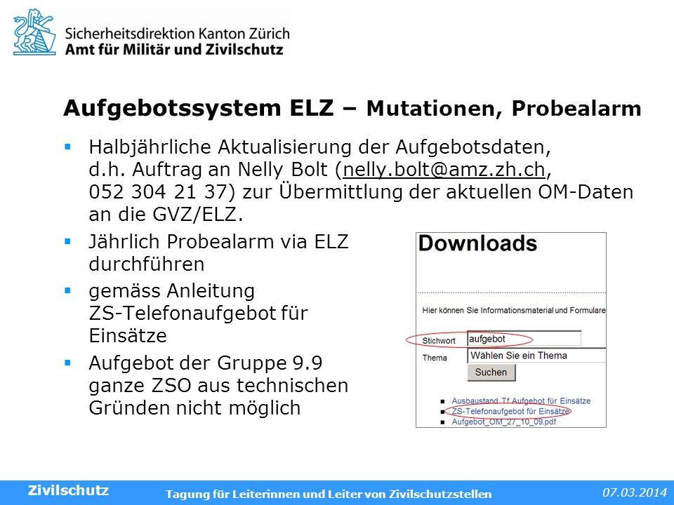 Aufgebotssystem ELZ – Mutationen, Probealarm
