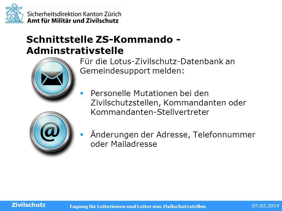 Schnittstelle ZS-Kommando - Adminstrativstelle