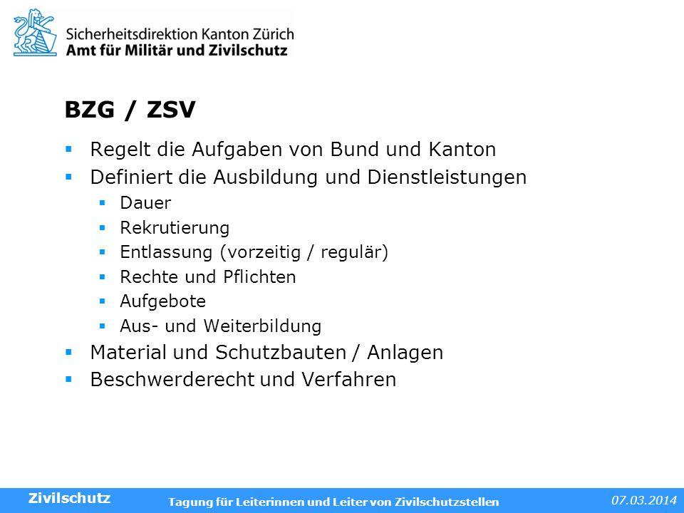 BZG / ZSV Regelt die Aufgaben von Bund und Kanton