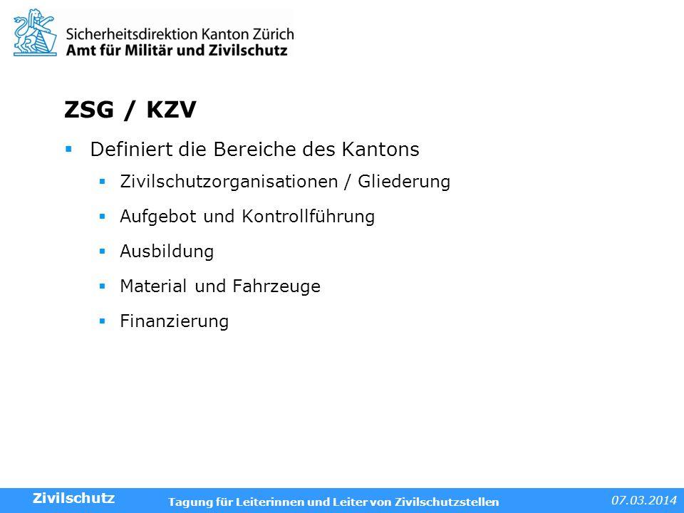 ZSG / KZV Definiert die Bereiche des Kantons