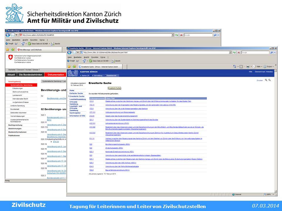 Internetseiten Zivilschutz