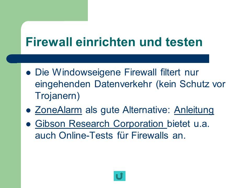 Firewall einrichten und testen
