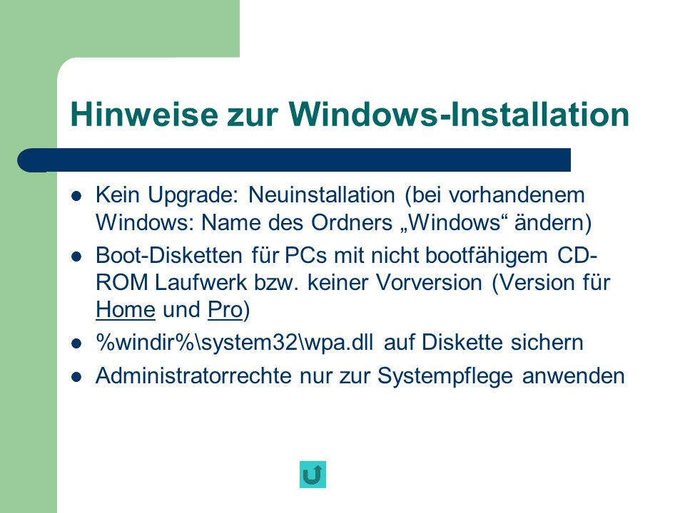 Hinweise zur Windows-Installation