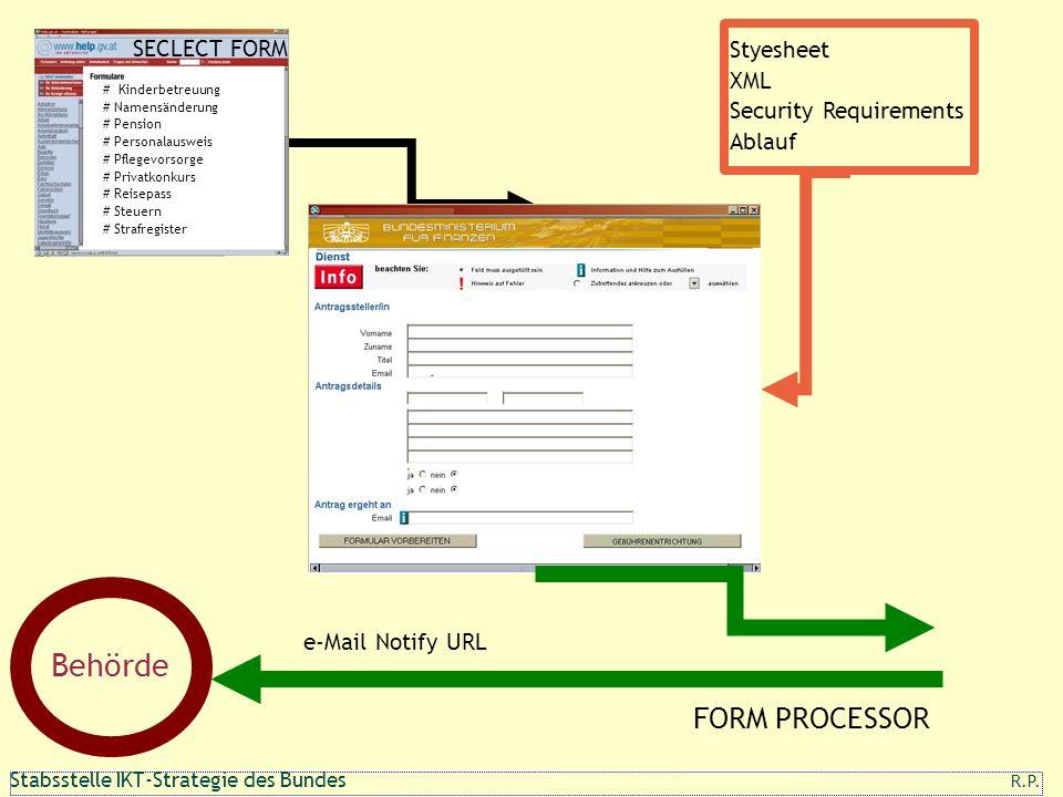 Behörde FORM PROCESSOR Styesheet SECLECT FORM XML