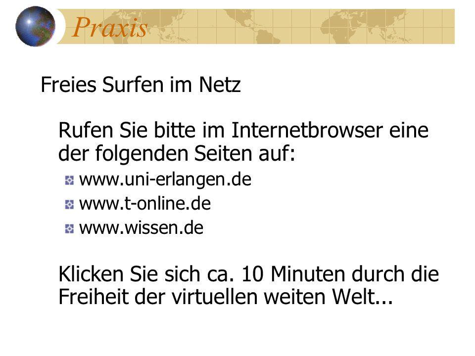 Praxis Freies Surfen im Netz Rufen Sie bitte im Internetbrowser eine der folgenden Seiten auf: www.uni-erlangen.de.