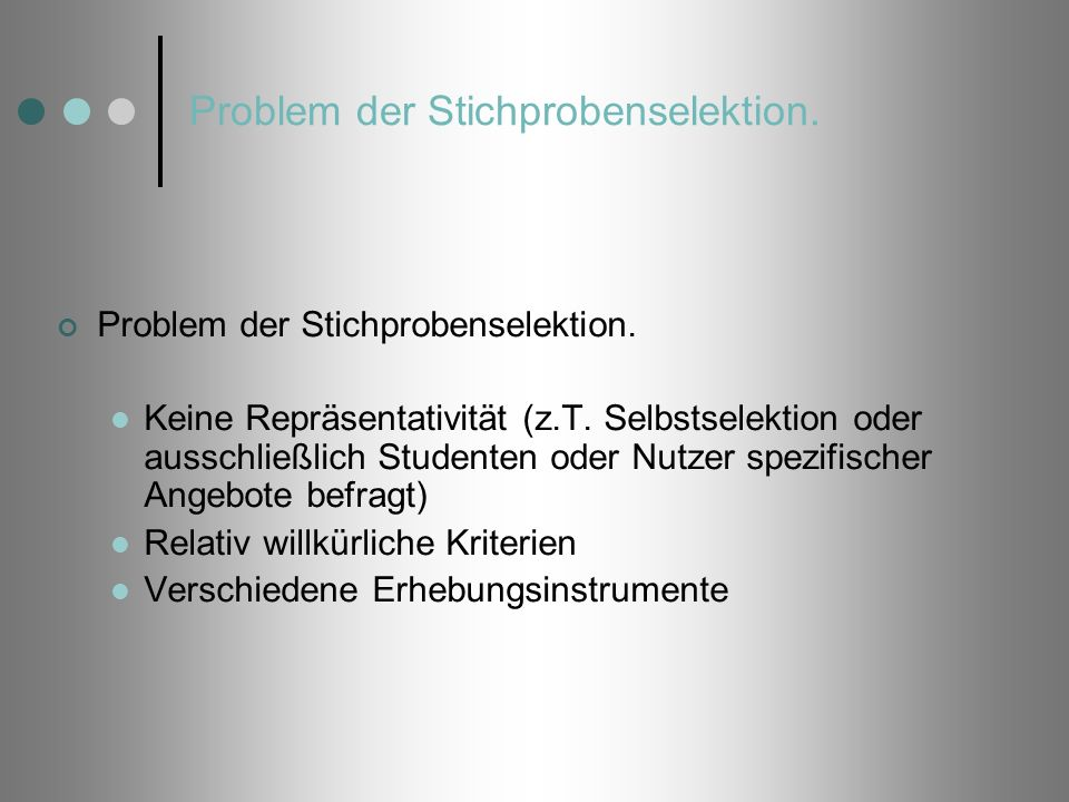Problem der Stichprobenselektion.