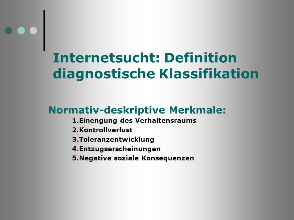 Internetsucht: Definition diagnostische Klassifikation