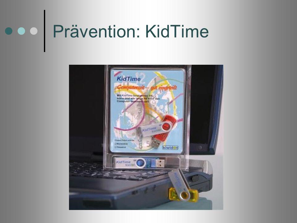 Prävention: KidTimeMan legt ein Zeitkonto für jedes Kind fest und kontrolliert somit technisch die Nutzungszeit der Kinder.
