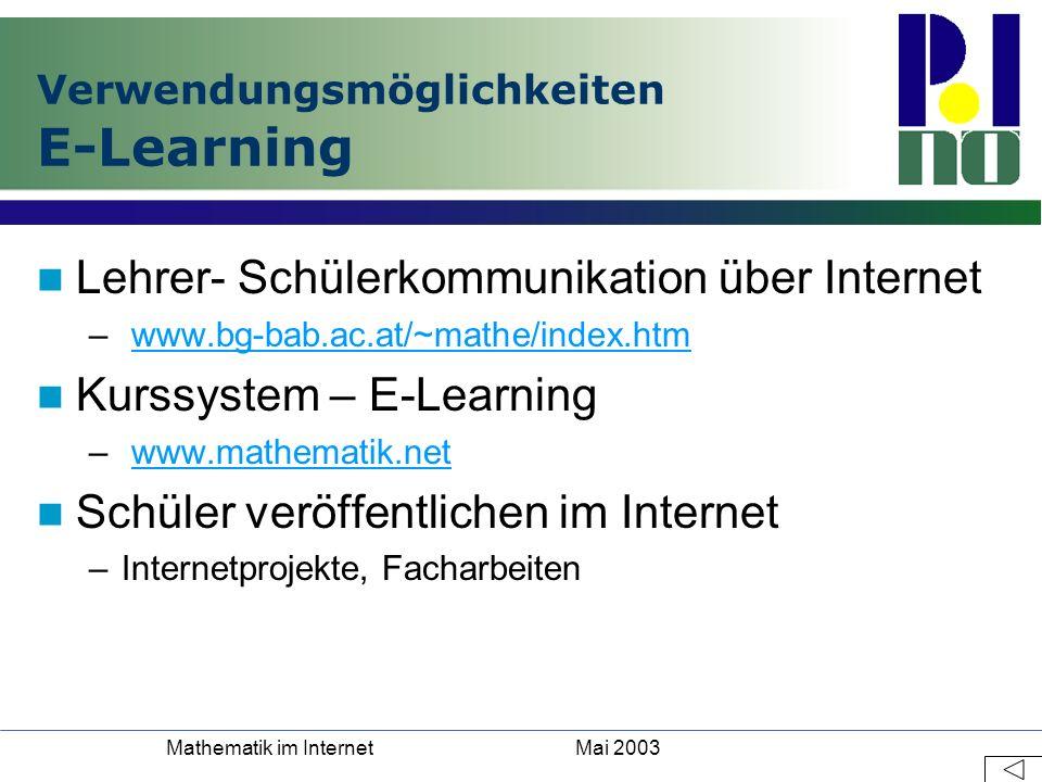 Verwendungsmöglichkeiten E-Learning