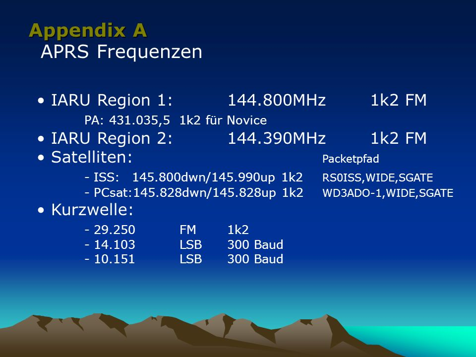 Appendix A APRS Frequenzen IARU Region 1: 144.800MHz 1k2 FM