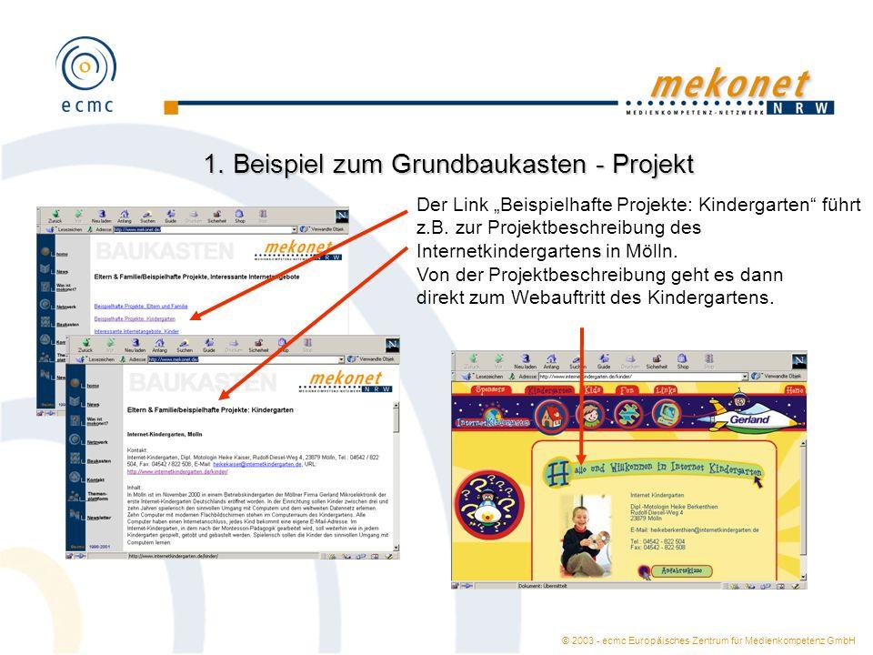 1. Beispiel zum Grundbaukasten - Projekt