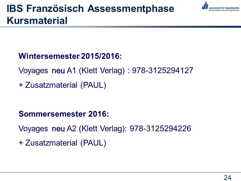 IBS Französisch Assessmentphase Kursmaterial