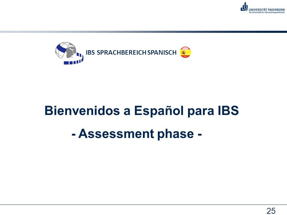 IBS SPRACHBEREICH SPANISCH Bienvenidos a Español para IBS