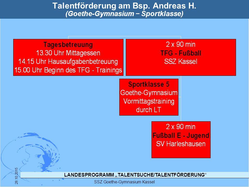Talentförderung am Bsp. Andreas H. (Goethe-Gymnasium − Sportklasse)