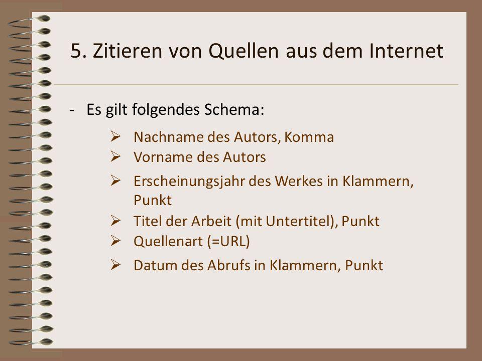 5. Zitieren von Quellen aus dem Internet